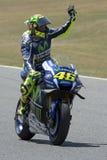 Выигрыш Valentino Rossi водителя гонка стоковое фото rf