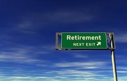 выйдите знак выхода на пенсию скоростного шоссе Стоковая Фотография RF