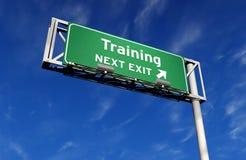 выйдите тренировка знака скоростного шоссе Стоковая Фотография RF