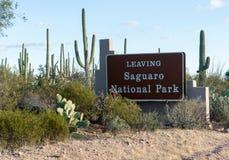 Выйдите знак от национального парка западного Tucson Saguaro Стоковые Фотографии RF