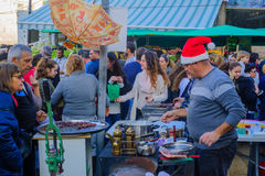 Выйдите сцену вышед на рынок на рынок, часть праздника праздников в Хайфе Стоковые Изображения RF