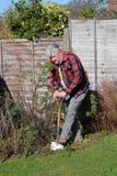 выкапывая пожилой человек сада Стоковая Фотография RF