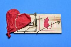 Выкачанный в форме сердц воздушный шар в мышеловке Стоковое Изображение RF