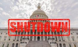Выключение правительства капитолия Соединенных Штатов стоковая фотография rf