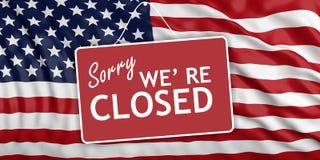 Выключение правительства К сожалению мы re закрытое на предпосылке флага США иллюстрация 3d бесплатная иллюстрация