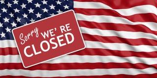 Выключение правительства К сожалению мы re закрытое на предпосылке флага США иллюстрация 3d иллюстрация штока