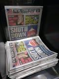 Выключение правительства США, газетный заголовок, NYC, NY, США Стоковое Изображение