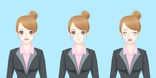 Выкрик бизнес-леди шаржа Стоковая Фотография