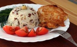 Выкружка жареной курицы с рисом Стоковое Изображение