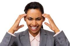 Вымотанная коммерсантка страдая от головной боли Стоковые Фото
