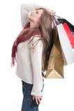 Вымотанное чувство девушки покупок Стоковая Фотография RF