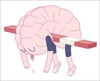 Вымотанный, собрание мозга Иллюстрация штока