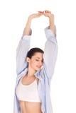 вымотано протягивающ женщину стоковое изображение rf