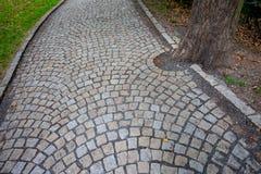 Вымощенный парк переулка публично в Праге стоковое изображение rf