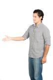 Вымолите стороне отсутствующему v руки человека латиноамериканца жеста помилования Стоковые Изображения