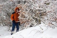 Выпаданный из ускорения в туристе зимы Стоковое Изображение RF