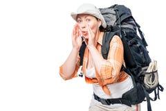 Выпаданный из ускорения турист, она делает жест вызывая для помощи Стоковые Фотографии RF