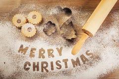Выпечка рождества, с Рождеством Христовым субтитр Стоковые Изображения