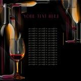 Выпивает бутылку вина меню .illustrated, чашку и Стоковое Фото