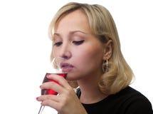 выпивает вино девушки Стоковое Фото