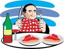 выпивать ел вино мяса человека Стоковое Изображение RF