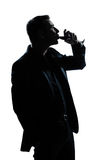 выпивая вино силуэта портрета человека красное Стоковое фото RF