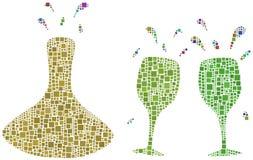 выпивая вино бесплатная иллюстрация