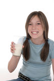 выпивая девушка 3 меньшее молоко Стоковое Фото