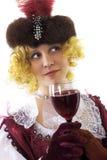 выпивая женщина красного вина Стоковое Фото