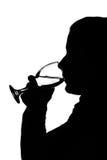 выпивая женщина силуэта Стоковое фото RF