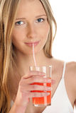 выпивая женщина сока Стоковые Изображения RF