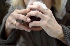 выпивая женщина чая Стоковые Фотографии RF