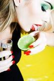 выпивая женщина tequilla Стоковые Фотографии RF