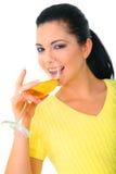 выпивая милая женщина вина Стоковое фото RF