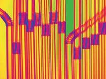 Выпивая трубы с электрическими цветами Растительность, желтый цвет, маджента, синь, красный цвет, апельсин Стоковые Фотографии RF
