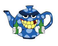 Выпивая шарж чайника Стоковая Фотография
