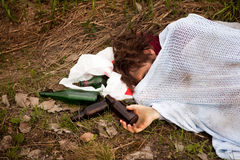 выпитый бездомный человек Стоковая Фотография RF