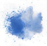 Выплеск акварели макроса голубой, изолированный на белой предпосылке Стоковые Фотографии RF