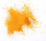 Выплеск акварели макроса оранжевый, изолированный на белой предпосылке Стоковое Изображение