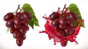 Выплеск и виноградины красного вина зацепляет икону иллюстрация вектора