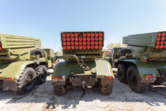 Выпускник BM-21 ракетная установка многократной цепи 122 mm Стоковые Изображения