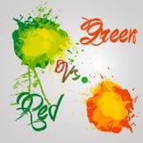 Выплеск акварелей красного и зеленого цвета Иллюстрация вектора