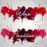 Выплеск акварели заголовка вина Иллюстрация вектора