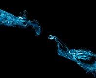 Выплеск 2 вод изолированный на черной предпосылке Стоковое Изображение