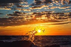 Выплеск волны на заходе солнца черная изолированная свобода принципиальной схемы Красотка природы Стоковое фото RF