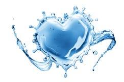 Выплеск воды в форме сердца стоковые фотографии rf