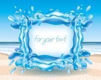 Выплеск воды на предпосылке пляжа иллюстрация штока