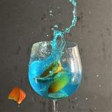 Выплеск голубого Rasberry и оранжевого куска сверкная Стоковое Фото
