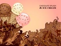 Выплеск мороженого и шоколада Стоковая Фотография
