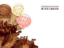 Выплеск мороженого и шоколада Стоковое Изображение RF